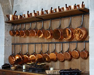 English: collection of copper saucepans in kit...