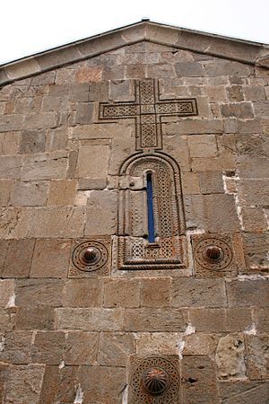 English: Gergeti Trinity Church cross relief