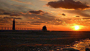 View of the the Grand Haven Lighthouse
