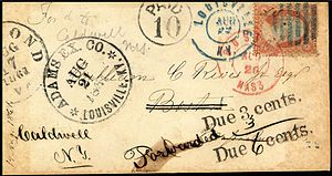 Adams Express Company postmark, with 'Paid 10'...