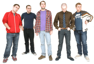 Members of the sketch comedy group Olde English