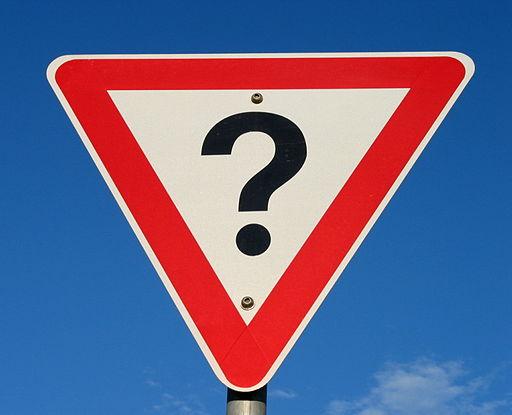 Question mark road sign, Australia