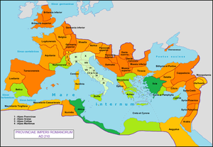 Map of the Roman Empire with the provinces of ...
