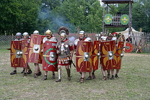 Reenactment of a Roman legion attack.