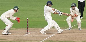 English: Indian batsman Sachin Tendulkar drive...