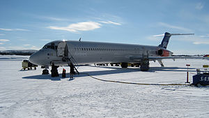 Scandinavian Airlines (SAS) airplane on Kiruna...