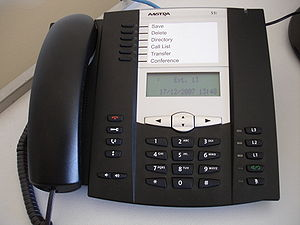 English: An Aastra 53i VoIP handset. Photo tak...