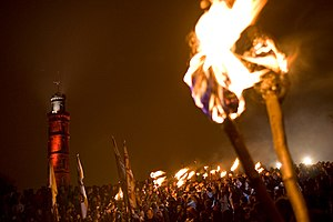 English: Crowds gather at the beltane fire fes...