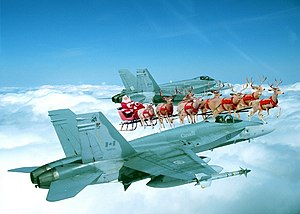 English: Canada NORAD Jet Fighter Santa Escort