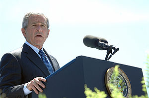 President George W. Bush addresses the class o...