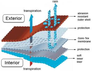 Schematic diagram of composite Gore-Tex fabric
