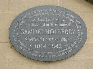 English: Holberry Plaque, Peace Gardens, Sheffield