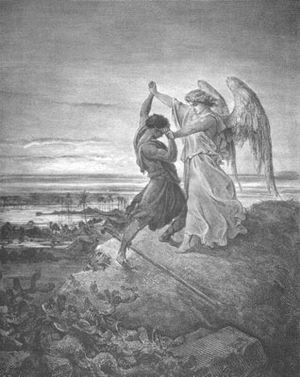 Jacob Wrestling with the Angel illustration by...