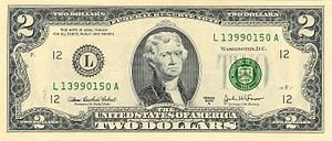 Face (obverse) of the Series 2003A $2 bill