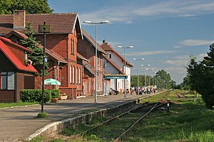 English: Train station in Łeba.
