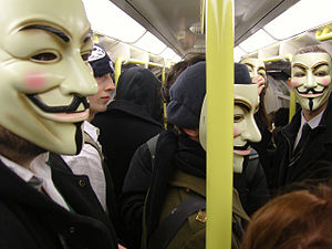 Members of the 'Anonymous' group travel on the...