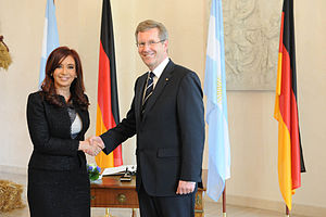 Presidents of Argentina Cristina Fernandez and...