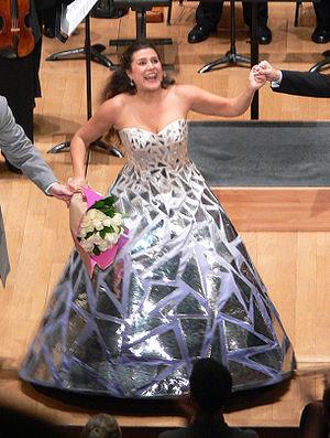 Cecilia Bartoli, after a concert performance o...