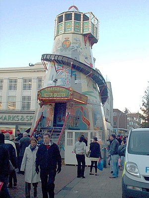 English: A helter skelter in the town centre o...