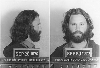 English: Mug shot of Jim Morrison.
