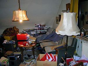 Living room of a person with compulsive hoarding.