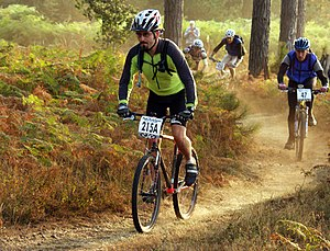 A cross country mountain bike race.