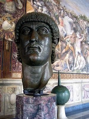 Head of Emperor Constantine I, part of a colos...