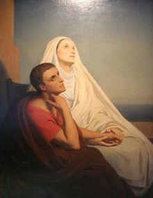 Monique et Augustin partagèrent une expérience mystique commune à Ostie, quelques temps avant sa mort. C'est cela que veut évoquer ce tableau de Ary Scheffer.