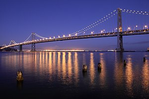 San Francisco Oakland Bay Bridge at night