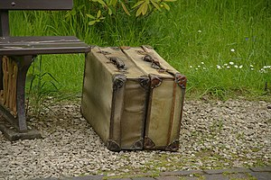 English: Old luggage at Arley railway station ...