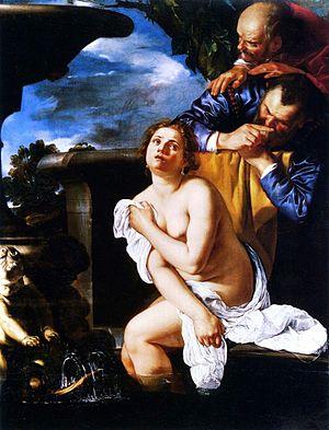 Italiano: Susanna e i vecchioni, olio su tela,...