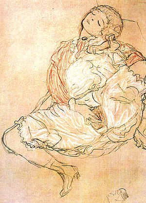 Masturbation by Klimt, drawing 1913