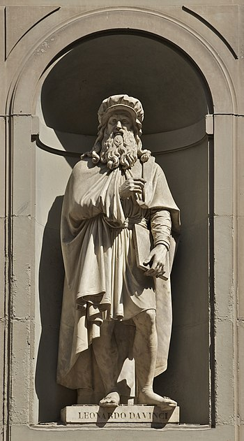 Statue of Leonardo da Vinci signed by Luigi Pa...
