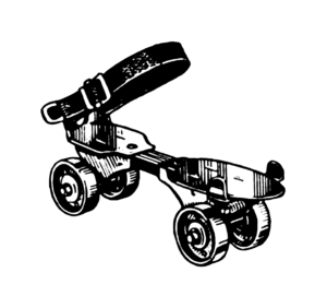 Line art drawing of a roller skate.