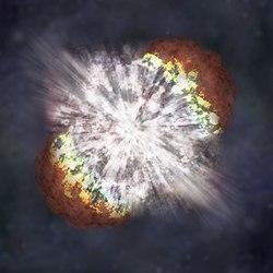 Explosión de la supernova SN 2006gy, situada a 238 millones de años luz. De ser válido el principio de acción a distancia, las perturbaciones de origen gravitatorio de este estallido llegar�an a nosotros automáticamente, mucho antes que las de origen electromagnético, que viajan a una velocidad constante, la de la luz.
