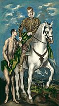 A man and a horse and rider, see text.