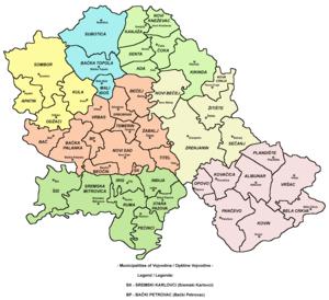 Map showing municipalities of Vojvodina.