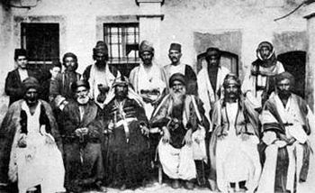 A French post card showing Yezidi leaders meet...