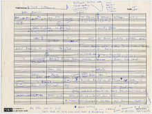 Handwritten sheet music by Coltrane, with notes surrounding it