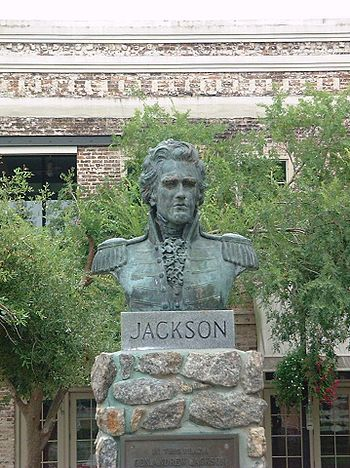 A bust of Andrew Jackson at the Plaza Ferdinan...
