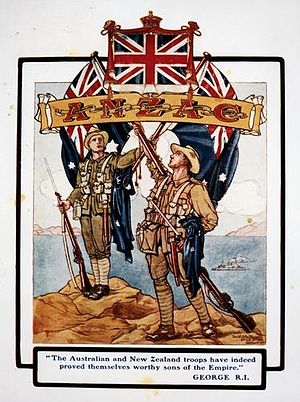 English: A New Zealand soldier stands on the l...
