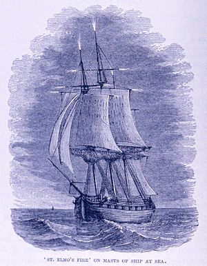 St. Elmo's fire on Masts of Ship at Sea