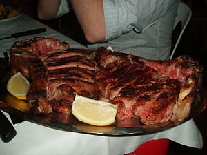 A large tray of meat