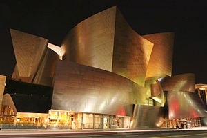 Walt Disney Concert Hall, Los Angeles at night.