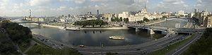 Panorama of Moscow, Borodinsky Bridge near rig...