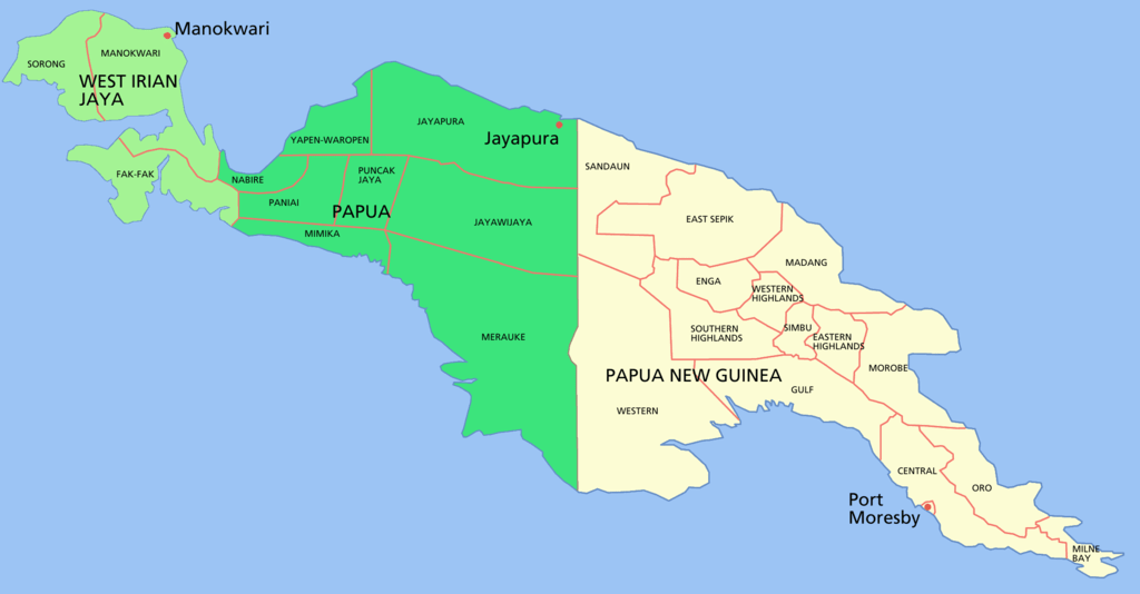 New Guinea island with it's current political divisions. The Asmat region is located in the province of Meraluke in the Indonesian state of Papua. It is a heavily forested area of swamps and mountainaous terrian which prevented many Europeans from visiting until the 20th century.