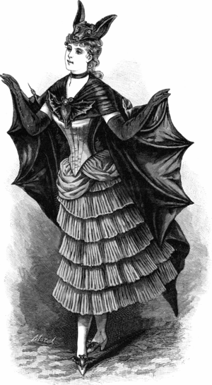 Bat-themed outfit for a fancy-dress ball. The ...