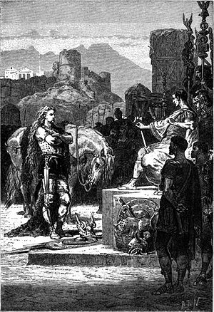 Vercingetorix surrenders to Caesar