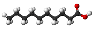 Ball and stick model of the decanoic acid mole...