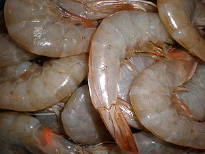 Raw shrimp, ready for cooking.